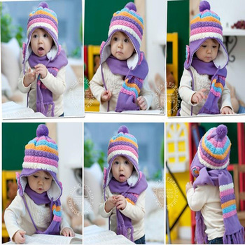 Free Shipping High Quality Fashion Baby FLOWER Hat Winter Warm Lovely Knitted Hat Baby Ear Protection Children Cap NEW ARRIVE