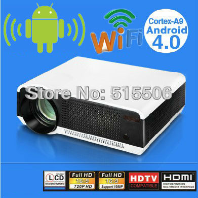 Free shipping !! 1080P smart led lcd projector with build-in android wifi for home theater use with great display images(China (Mainland))