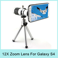 Hot Sale 12X Optical Zoom Telescope Telephoto Lens Aluminum Camera with Tripod for Samsung Galaxy S4 i9500 Drop Shipping