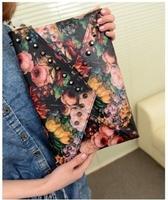 2013 punk oil painting clutch rivet day clutch bag envelope bag shoulder bag cross-body women's handbag   Free postage