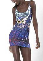 EAST KNITTING BL-094 2013 latest fashion womans digital printed glass owl DRESS Black milk Women summer Vest tops