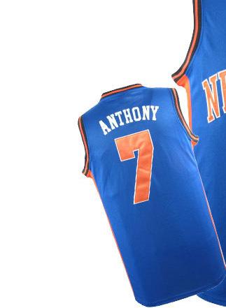Usa kinder junge childs New York #7 carmelo anthony basketball blau Jugend kurze trikot, trikot, stickerei logos Größe s-xxl