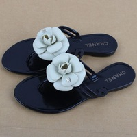 2013 New camellia slippers sandals flat sandals