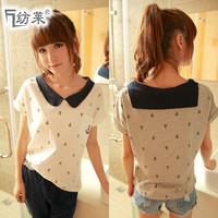 Free shipping 2013 spring loose t-shirt female sailor suit navy style peter pan collar short-sleeve t-shirt