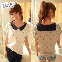 Free shipping 2013 spring loose t-shirt female sailor suit navy style peter pan collar short-sleeve t-shirt