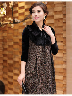 2012 autumn leopard print medium skirt long-sleeve paillette one-piece dress g123876 women's clothing rabbit fur fabric(China (Mainland))