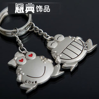 Free Shipping    Fashion Jewelry  Small home hippo1 frog couple key chain gift male key chain key ring
