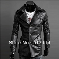 2014 Retro style PU leather jackets for men Large lapel single-breasted leather jackets men long pattern windbreak, M-XXL,5866