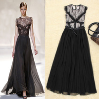 Free Shipping 2013 Novelty Fashion Pure Color Lace Patched Empire Waist O-neck Sleeveless  Mid-Calf Dress