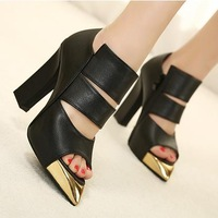 2013 sexy fashion pointed toe open toe cutout women's thick high-heeled shoes gold black and white pack sandals