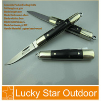 Classic Columbia Pocket knife Folding Knives 440C 57HRC Stailess Steel Blade Double Copper Head + Black Wood Handle Freeshippng