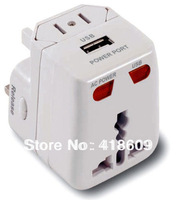 Free shipping Universal All-in-One World Travel Adapter with USB Power For AU EU UK US 200 countries