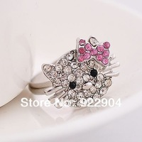 New 2014 fashion Silver plated Sweet lovely hello Kitty jewelry  vintage cute adjustable finger ring, 12pcs/lot,cat rings