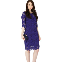New Arrival 2013 Women Luxury  All Over Lace Flower Elegant Purple Knee-length Dress Beatiful Day Dresses AK2294