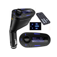 Free shipping 2013 Newest Car MP3 Player Wireless FM Car Transmitter Modulator USB SD MMC Blue Color
