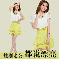 2013 summer ol elegant clothing summer short-sleeve chiffon slim one-piece dress