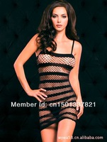 Free Shipping Sexy Stocking Women Sleepwear Babydoll Mesh Net Lingerie stripe Bodystocking
