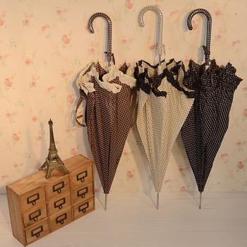Bowl long-handled umbrella laciness polka dot princess umbrella automatic umbrella