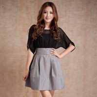 Spring and summer elegant formal ol women's black gray batwing sleeve high waist slim one-piece dress plus size