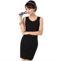 2013 spring basic women's one-piece dress sleeveless summer all-match black ol slim dress