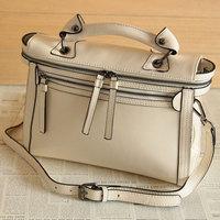 Fashion vintage two-color oil leather motorcycle bag double zipper OL outfit women's handbag messenger bag