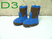free shipping, 10pair/lot Popular! baby kids cute handmade shoes infant crochet snow boots cow design 0-18M