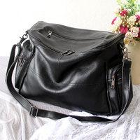 2013 fashion bag the casualness brief zipper genuine leather messenger bag genuine leather handbag women's big bag