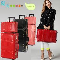 2014 Vintage Trolley Luggage Travel Bag Luggage Female the box 24 22  size PU box