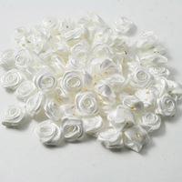 White 15mm Satin Ribbon Flower Rose for crafts clothing flowers&Wedding 500pcs