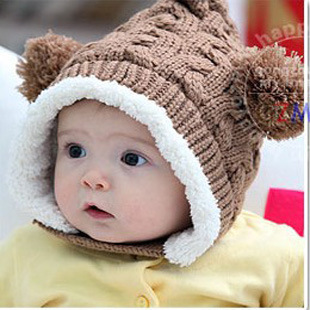 Fairy double ball plus velvet bonnet winter baby cap ear protector plus velvet winter baby hat(China (Mainland))