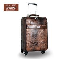 Crocodile pattern pvc suitcase universal wheels trolley luggage bag travel bag luggage