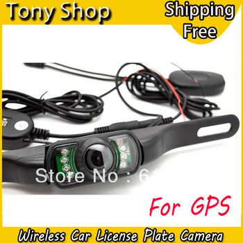 2.4G Wireless Car License Plate  Rear View Camera for GPS  with 120 Degree Wide Angle Lens and 7 IR LED