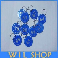 Cheap wholesale (100pcs/lot) Key ID Labels number Tag Cards key chain with Digital tag key ring One to one hundred