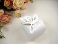 Free shipping 100 pieces Butterfly Pattern white Favor Box Gift Box Candy Boxes Wedding Party Baby Shower