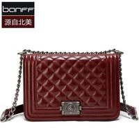 2013 wax cowhide female bags fashion plaid banff dimond chain bag shoulder bag small bag