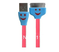 Free shipping Smiley Face LED USB Sync Charger Flat Noodle Cable for ipod ipad iphone 4G