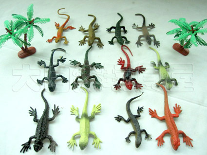 free shipping! [12pcs/set] eco-friendly plastic emulational lizards model artificial animal model toys birthday gift(China (Mainland))