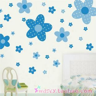 Second generation kitchen cabinet window glass tv background wall sticker 50 blue princess flower(China (Mainland))