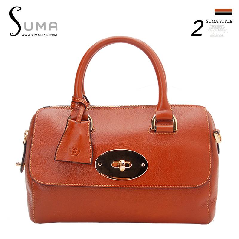 2013 full genuine leather first layer of cowhide women's handbag brief box package handbag(China (Mainland))