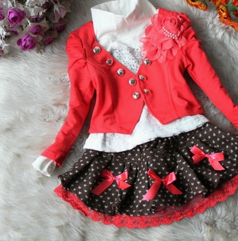 NEW ARRIVE Spring autumn little Girls Sets Kids Children Clothing Sets Toddler T-shirt+Coat+Skirts 3pcs Set 4set/lot 3-6years