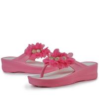 Summer new arrival female slippers platform flip flops sandals flower beaded wedges flip shoes slip-resistant