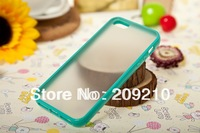 New fashion Semi Clear Plastic Bumper Case for iPhone 5 5S,hard PC case+ soft TPU Bumper,high quality,1pc/lot