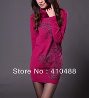 2013 New Korean Women fashion long sweater,turtleneck Plus Size knit sweaters with gift,free shipping