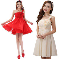 2014 new style one shoulder chiffon formal propose a toast the bride dress dinner party short oblique design for wedding dress