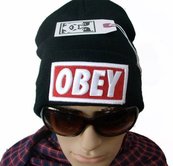 OBEY BOX LOGO beanie Hats one fit all most popular hearwear top quality freeshipping black(China (Mainland))