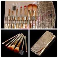 Gold Leather 7 Pcs Professional Cosmetic Brushes Makeup Brush Set Kit Blush Lip Brush Eyeshadow Sponge Eyebrow Comb Case New