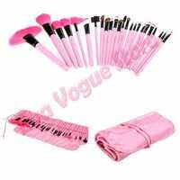 Pro 24PCS Makeup Foundation Eyeshadow Mascara Lip Brushes Set Eyebrow Comb Eyeshadow with Roll up Pink Case