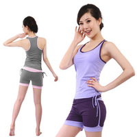 Supply 2013 new spring and summer sleeveless yoga clothing suit vest shorts sports and fitness aerobics clothing YJ2826