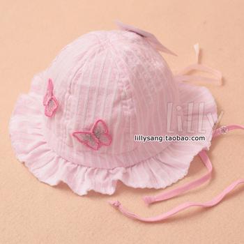 Summer baby bonnet hat baby sun hat bucket hats bucket hat sunbonnet cotton drawstring 100% two-color butterfly
