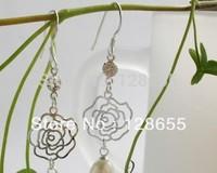 Freshwater pearl earrings Korean version of the small earrings rose earrings    Free shipping